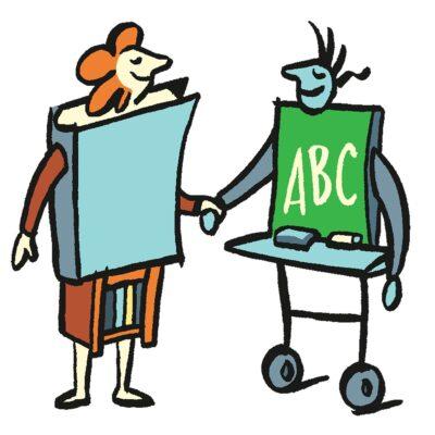 Zeigt die Zusammenarbeit von Schule und Bibliothek in Form eines Cartoons